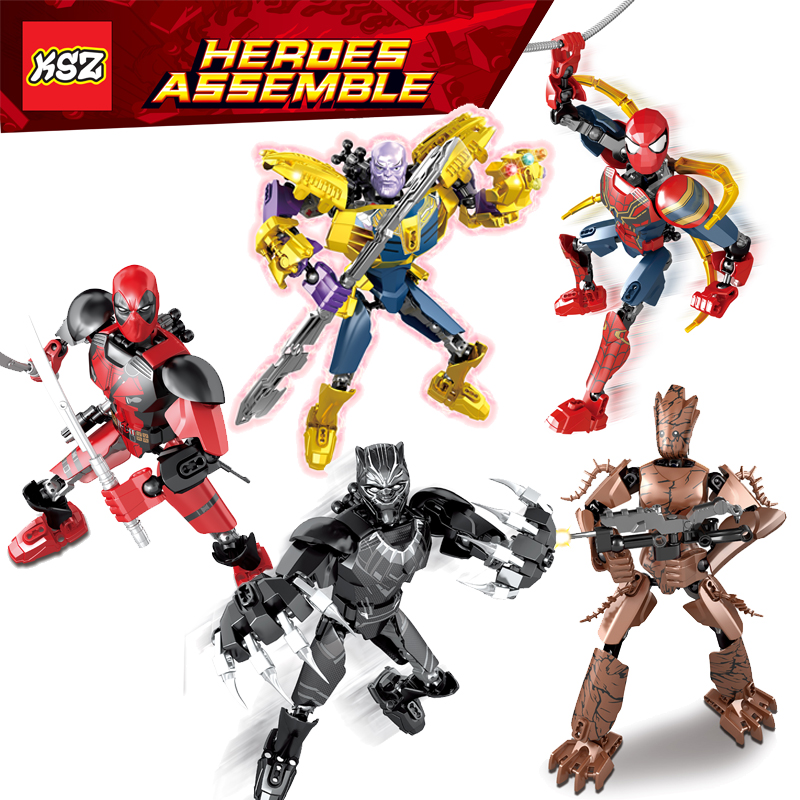 Avenger Super Hero Buildable Action Figure Building Block Toy Ironman SpiderMan.