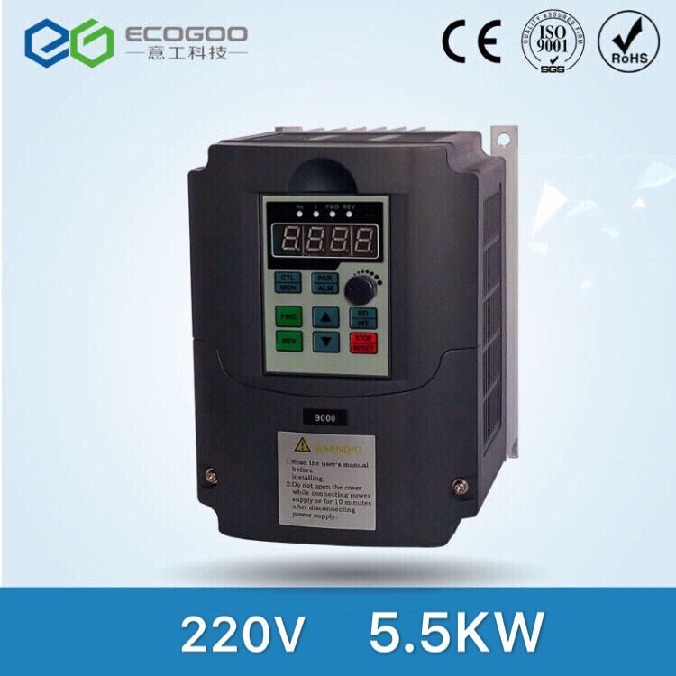 VFD-Ecogoo VFD Inverter Frequency converter 5.5kw 7.5HP 3PHASE 220V 600Hz for CNC high speed spindle motor good quality 5m 16 feet spiral wire organizer wrap tube flexible manage cord for pc computer home hiding cable 4 50mm