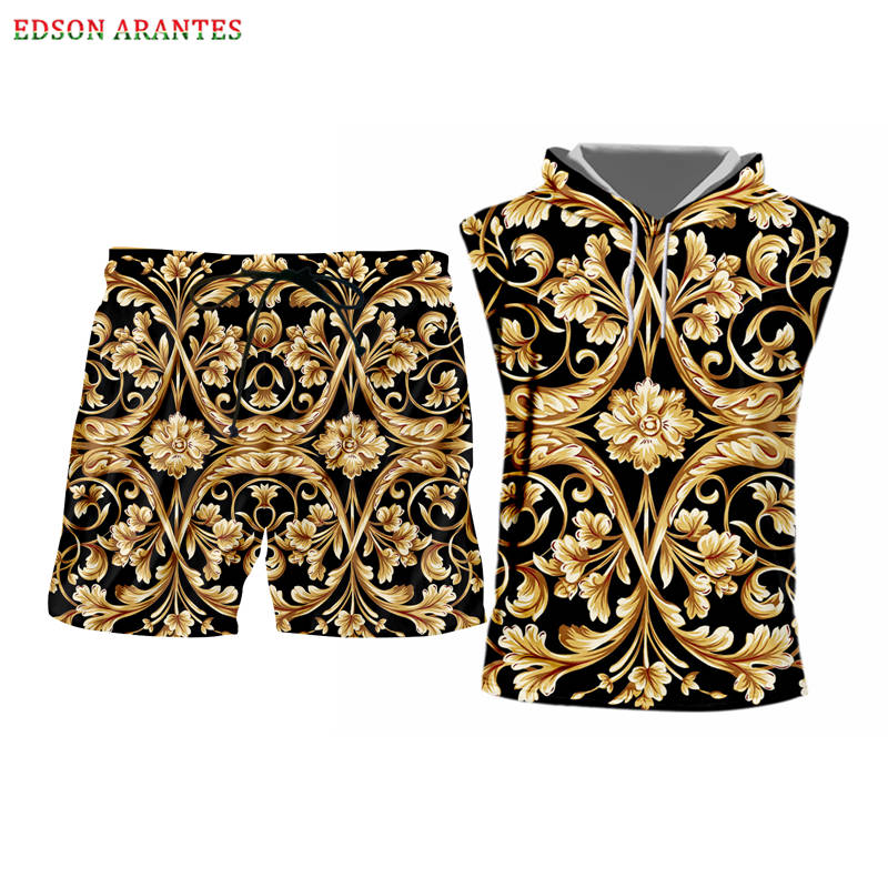 Summer Sleeveless Hoodie Tank Tops+Shorts 2 Piece Sets Outfits Unisex Golden Floral 3d Print Gym Vest Tracksuits Custom S-6XL