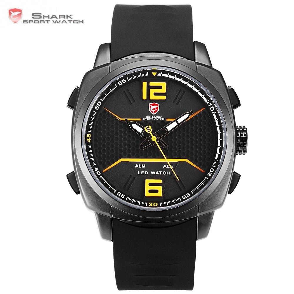 2018 новый дизайн белоперые Reef акула спортивные часы Для мужчин светодио дный желтый аналоговый Дата Сигнализация кремния Группы Кварцевые н...