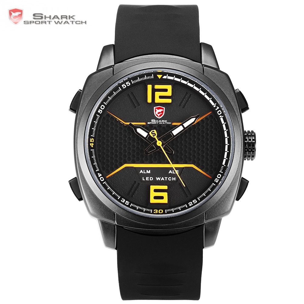 Cool New Design Whitetip Reef Shark Sport Watch Men LED Yellow Analog Date Alarm Silicon Band Quartz Digital Wrist Watches/SH489Cool New Design Whitetip Reef Shark Sport Watch Men LED Yellow Analog Date Alarm Silicon Band Quartz Digital Wrist Watches/SH489