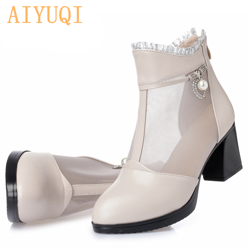 AIYUQI 2019 women 39 s genuine leather mesh shoes in spring and summer big size 41 42 Open toed sandals women High top sandals in High Heels from Shoes