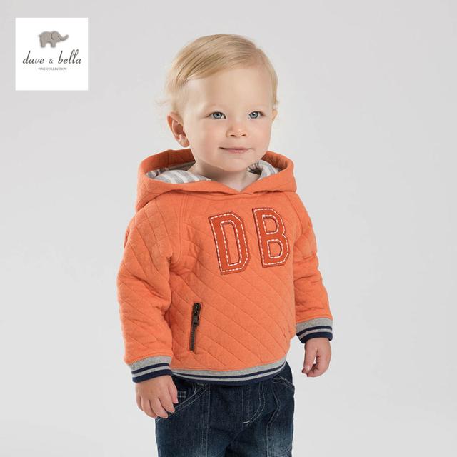 Db3829 dave bella primavera bebê meninos plain orange hoodies camisola acolchoado