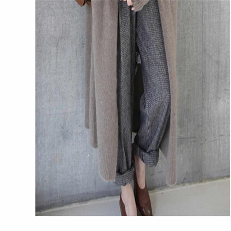2018 mới mùa thu và mùa đông cashmere cardigan dài của phụ nữ over đầu gối áo len dày lỏng thoải mái áo len áo khoác
