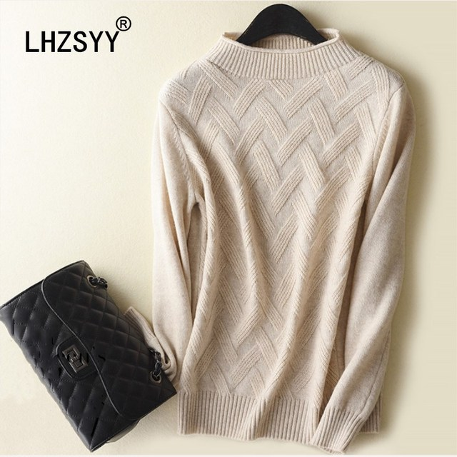 b6bc74b05 LHZSYY Autumn Winter New Half-Collar Cashmere Sweater Knit pattern Pullovers  Solid Women Sweaters high quality Short warm Shirt