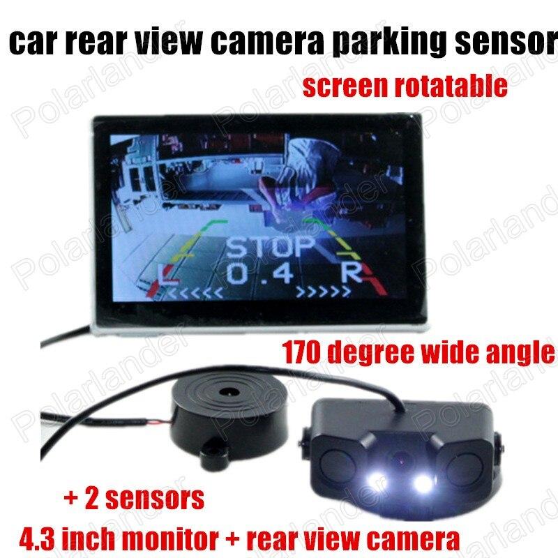 Nouveau 3 en 1 alarme sonore HD voiture sauvegarde inverse LED caméra de recul système de Radar de stationnement 2 capteurs moniteur de 4.3 pouces