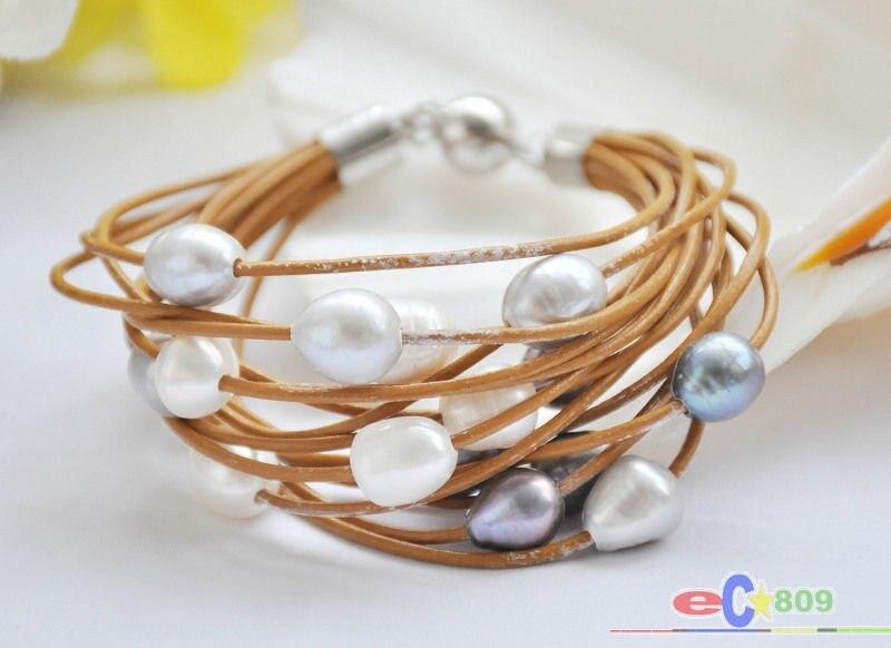 """AAAA 10 mm Blanc South Sea Shell Pearl Bracelet 7.5/"""" aimant fermoir"""