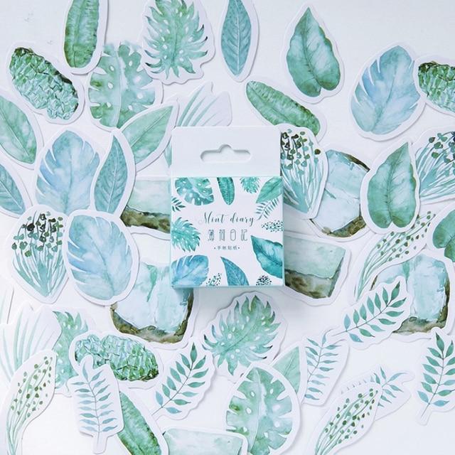 45pcs kawaii mint green plants leaves stationery stickers