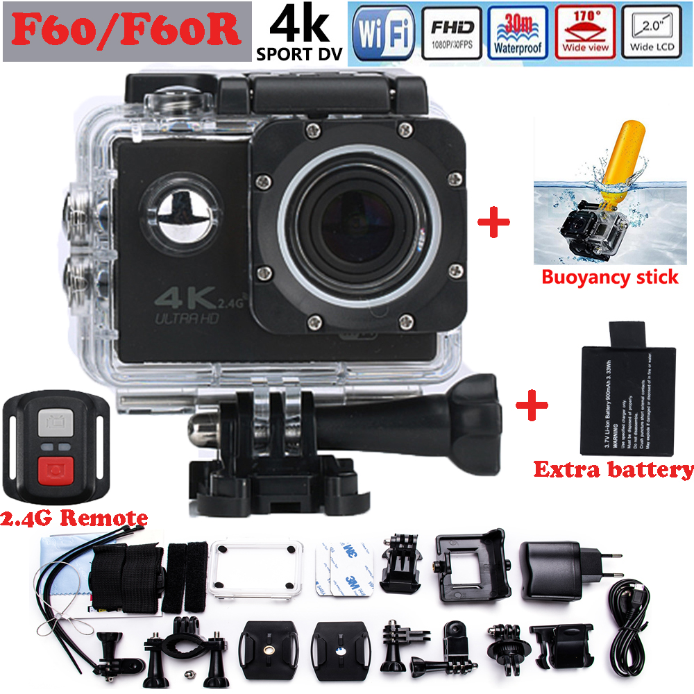 Best Selling F60R Wifi 4K go Action Camera pro 2.0 inch screen 170 Wide Lens waterproof action cam Add Buoyancy stick + battery