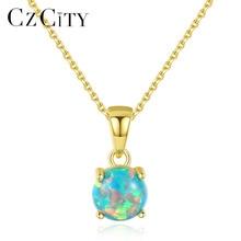 4b2ab1199a68 CZCITY puro de la plata esterlina 925 collares para mujer colorido redondo  fuego Opal colgante collar exquisito joyería de Navid.