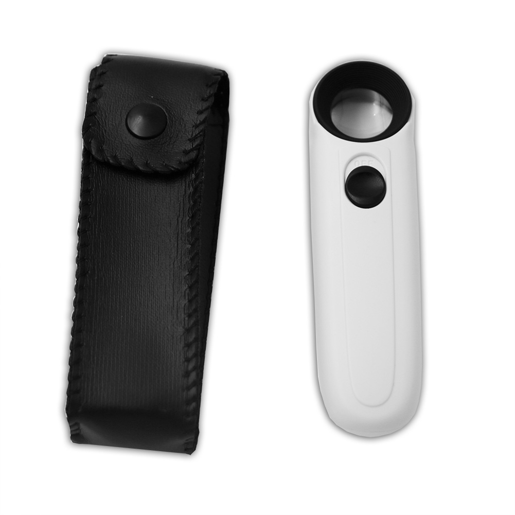 New Mini Illuminated Loupe 40x Lighted Magnifying Glass High Power Hand Held Magnifier With LED Microscope 40x Magnifier 100 times the portable microscope magnifier with light hand held magnifying glass to see tool jade outlets