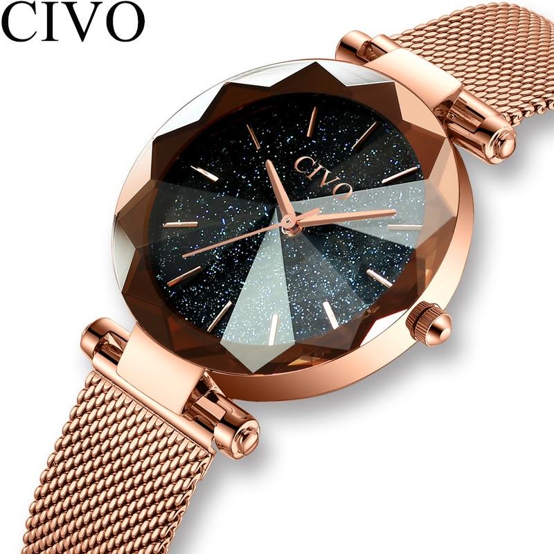 CIVO Luxury Crystal Watch Women Fashion Gold Mesh Strap Quartz Watches Top Brand Waterproof Clock Gift For Wife Relogio Feminino