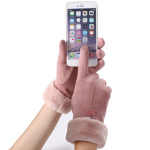 New Fashion Women Gloves Autumn Winter Cute Furry Warm Mitts Full Finger Mittens Women Outdoor Sport Female Gloves Screen Luvas cheap Gloves Mittens Wrist Solid Acrylic feitong Adult