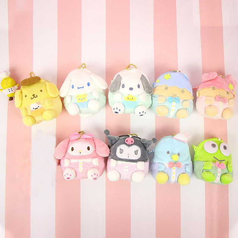 1pc Hot Sale Cartoon Twin Stars My Melody Plush Purses Soft Cinnamoroll Dog Stuffed Plush Purses Toys Bags Pendant For Kids Gift