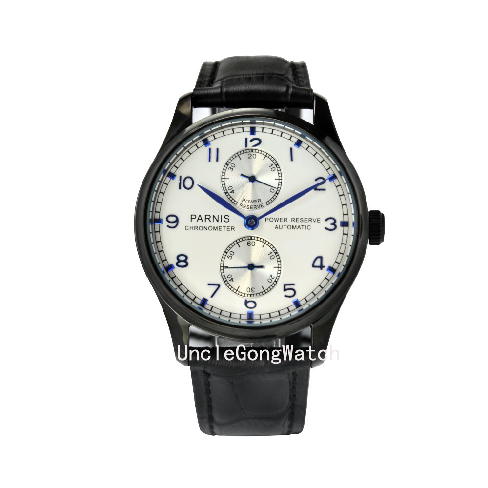 Parnis 43mm White dial mechanical Power Reserve Automatic steel men's watch PA4315PWB power reserve 1x