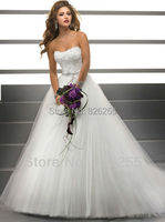 Ready For Sale Free Shipping 2013 Popular White Ivory Appliques Tulle Material Ball Gown Luxury Wedding