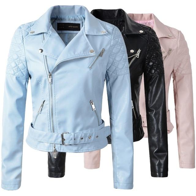 b4d4c2128e9 Мода розовый голубой женщин кожаная куртка бомбардировщик мотоцикл Кожаные  куртки женщин 3 цвет марка кожаное пальто