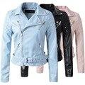Rosa de la moda cielo azul de las mujeres de cuero chaqueta de bombardero de la motocicleta chaquetas de Cuero de las mujeres 3 de la marca de color capa S-XL de cuero jaqueta couro