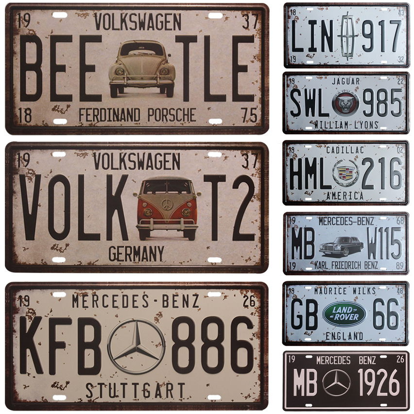 Vintage Tin Sign Automotive : Vw bee tle car license plate vintage home decor tin sign