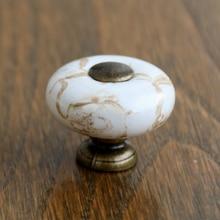 Antique brass Marble Porcelain Drawer knobs kitchen Cabinet handle Cupboard Knob Ceramic 10PCS