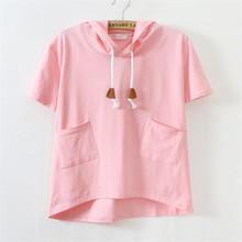 2016 New Women t shirt Cotton Loose Short-Sleeved Pure color pocket  Hoodied T-Shirt With Hat