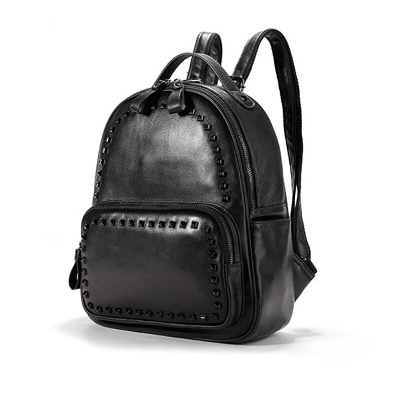 ФОТО New 100% Genuine Leather Backacpk Fashion Rivet Women SHoulder Bag Preppy Style Schoolbag teenagers mochila escolar