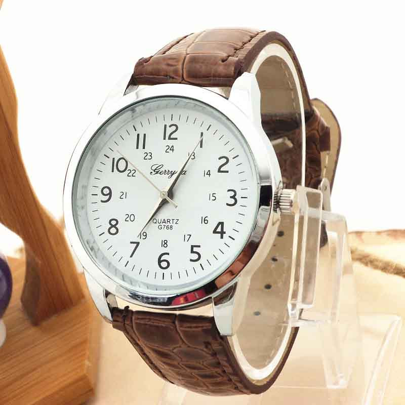 Men Watch Quartz Brown Elegant Sports Luxury Strap GERRYDA Analog VICO