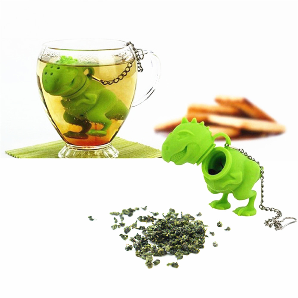 New Silicone Dinosaur Tea Infuser Loose Leaf Strainer Herbal Filter Diffuser