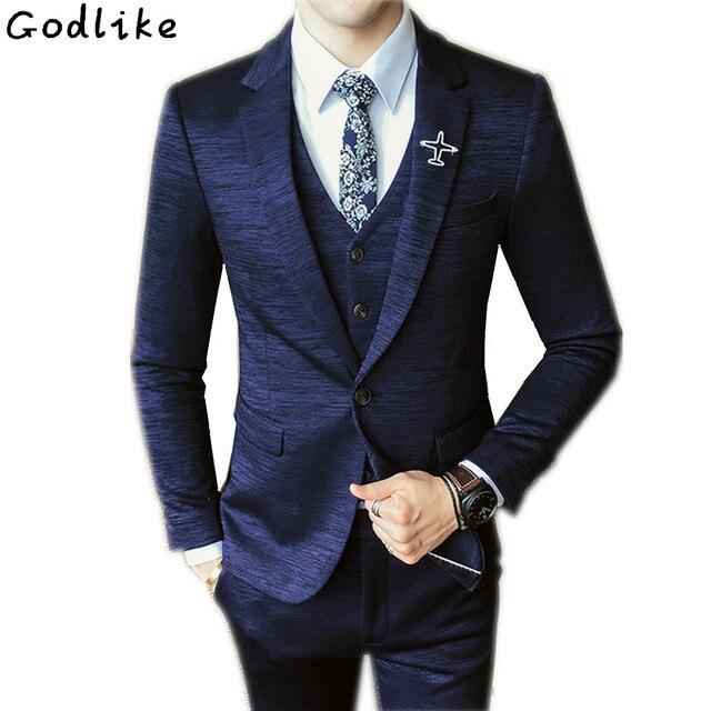 0add007c3b23a Llegada de azul marino FRAC traje de los hombres vestido Slim trajes de boda  para hombre