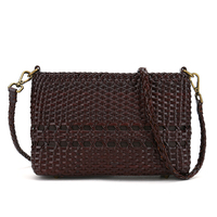 Woman crossbody bag casual zipper versatile shoulder bags High quality handmade leather weave fashion handbags