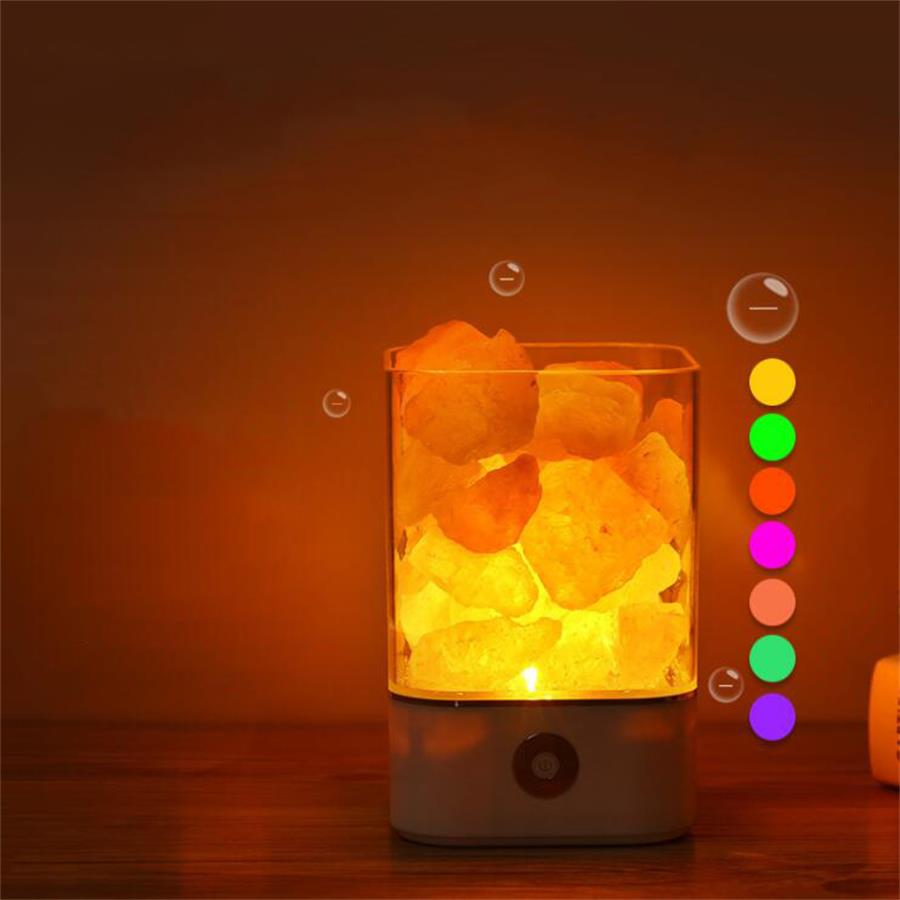 USB Crystal Salt Night Light Himalayan Crystal Rock Salt Lamp LED Air Purifier Night Light Bedside room table desk creative lamp beautiful night lamp triangle hand carved usb wooden base himalayan crystal rock salt lamp air purifier night light