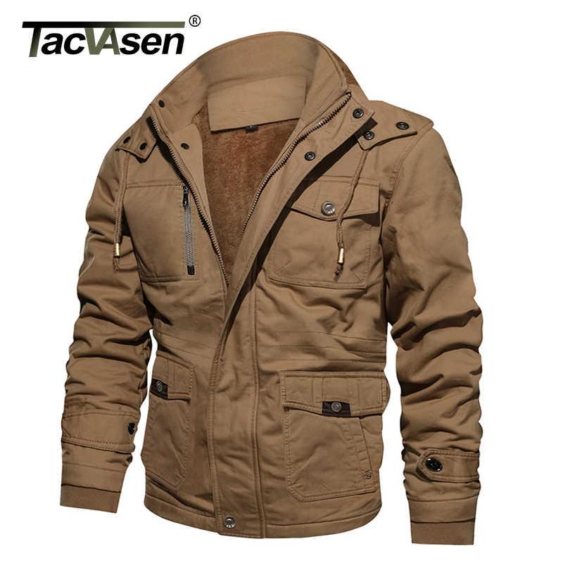 4cfd148801c TACVASEN Military Jacket Men Winter Thick Cargo Jacket Coat Thermal Fleece  Pilot Jackets Air Force Casual