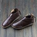 Botas de Couro Genuíno das mulheres Ankle Boots toe Rodada lace up Calçados Casuais da Mulher com/sem pele Outono Inverno botas (568-6)