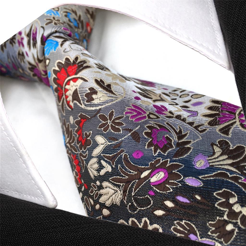 PZ12 Slim Tie Floral Multi color Silk Mens Skinny Necktie 6cm 2 36 quot in Men 39 s Ties amp Handkerchiefs from Apparel Accessories