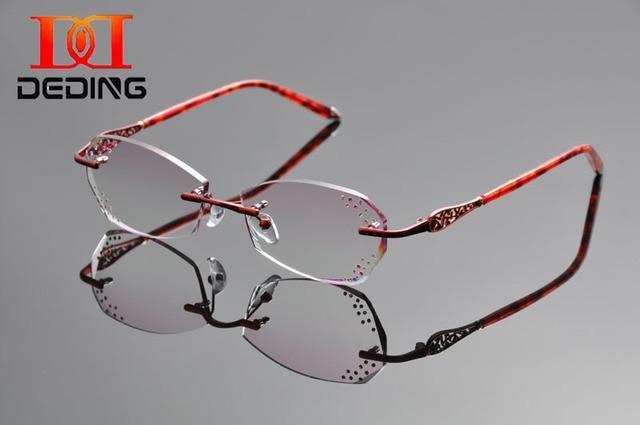 DeDing Women Rimless Prescription Eyeglasses Frame Lightweight Rx Glasses Anti blue rays Rhinestone Luxury Eye glasses DD1312
