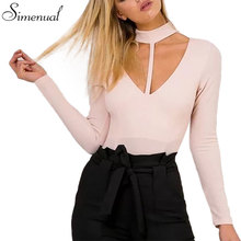 Choker long sleeve fitness women bodysuits fashion new autumn winter clothes solid V neck bandage slim sexy bodysuit jumpsuits