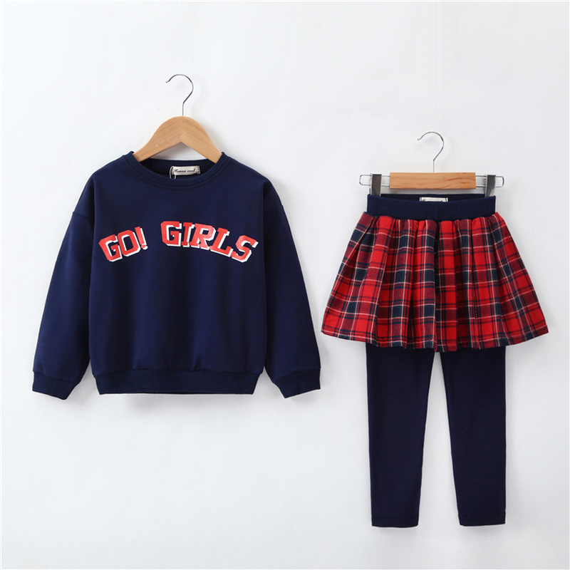 Girls School Uniform Teens Clothing Sets Plaid Cotton Costumes Baby Girls Two-pieces Set Casual College Wind 2 Pieces Suit CA317 недорого