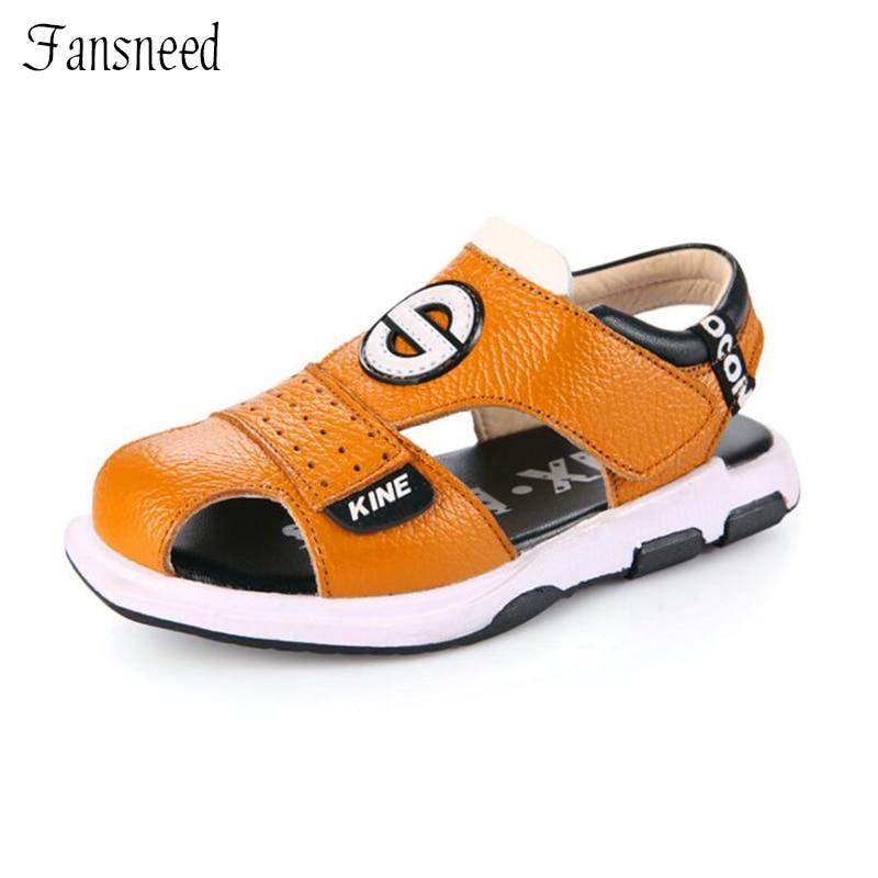 2018 new childrens shoes Boys sandals summer boys genuine leather sandals beach children sandals student shoes