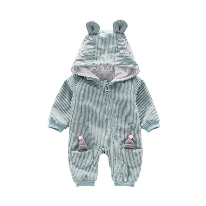 Boys Girls Jumpsuit Autumn Baby Romper Long Sleeve Kids Clothes With Hat Character Design Hooded 6-18m Children Outdoor Clothes