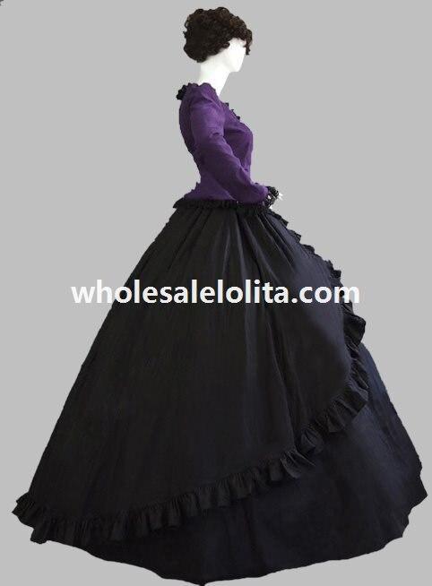 В викторианском стиле темно в готическом стиле из искусственной замши бальное платье историческая реконструкция Костюмы
