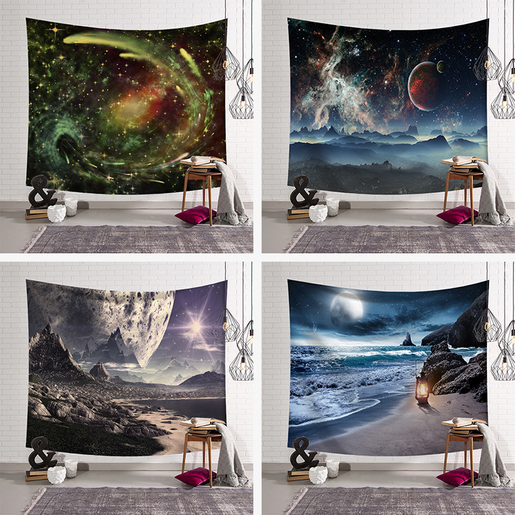 uj Beach Tapestry Ocean Decor Tropical Island Paradise Beach at Sunset Time with Waves and the Misty Sea Image Wall Hanging