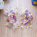 Очаровательная цветочные заколки кристалл заколка для волос жемчужные украшения прекрасный фиолетовый украшения для волос девушки люкс свадебное аксессуары для волос weixi