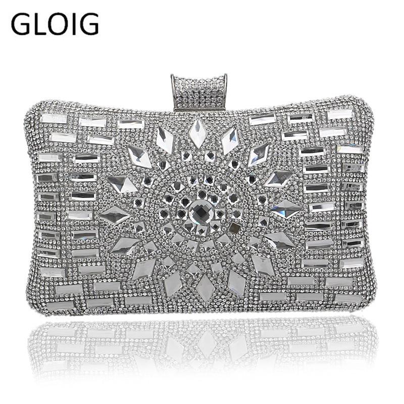 GLOIG diamond silver evening bags top quality gold clutch bag blue bag party wedding bridal purse 4 colors