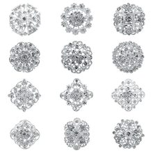 Weimanjingdian Banyak 12 PC Clear Rhinestone Crystal Bunga Bros Pin Set Diy Pernikahan Bouquet Bros Kit Dalam Berbagai Macam Warna(China)