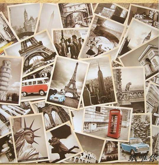 32 pcs Architecture in Europe Cards Collector Retro Nostalgia Postcards Cartoon card  Carte Postale Office School Supplies