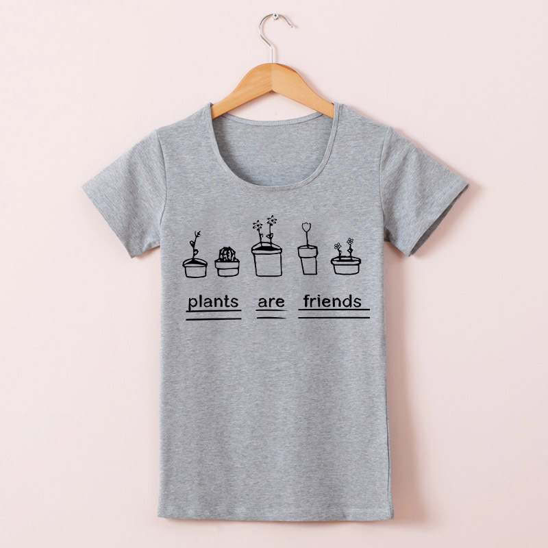 3785e1b81 Summer Women T Shirts Graphic Top Tees Plants Are Friends Woman T shirt  Bodysuit Tee Shirts Cotton Short Sleeve Top-in T-Shirts from Women's  Clothing on ...