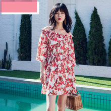 New Womens Slash Neck Floral Print Dress Summer 2019 Bohemian Style Empire Waist Slim Fashion