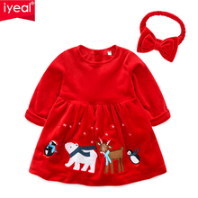 IYEAL Christmas Velvet Baby Girl Clothes Red Long Sleeve Animal Pattern Princess Dresses with Headband Kids for 1-4