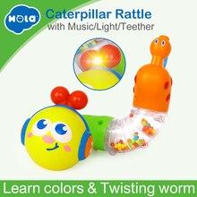 Купить с кэшбэком Free Shipping Huile Toys 917 Transformable & Musical Twisting Worm animal rattles and belt teethers rotating baby toys
