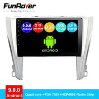 FUNROVER 2.5D+IPS android 9.0 car dvd gps multimedia player Radio For Toyota Camry 50 2015 car dvd navigation radio video audio